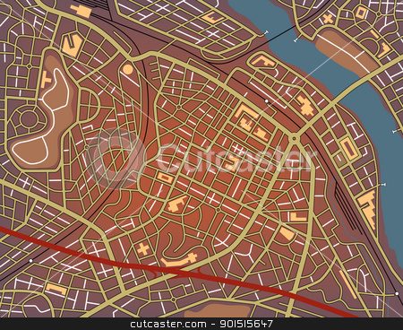 City center stock vector clipart, Editable vector map of a generic city with no names by Robert Adrian Hillman