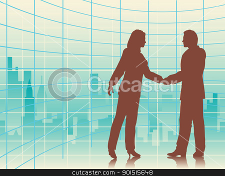 City deal stock vector clipart, Editable vector illustration of business people shaking hands with a city background by Robert Adrian Hillman