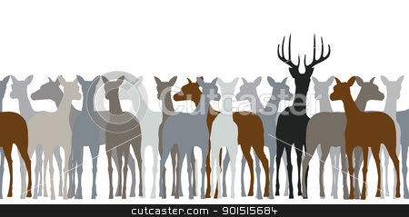 Deer herd stock vector clipart, Editable vector silhouette of a herd of deer by Robert Adrian Hillman