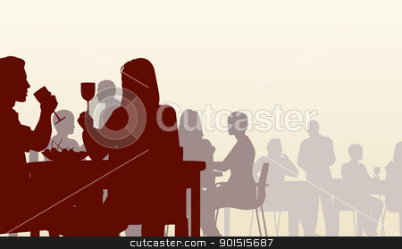 Diner stock vector clipart, Editable vector silhouette of people eating in a restaurant by Robert Adrian Hillman