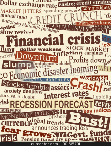 Financial crisis headlines stock vector clipart, Background editable vector design of newspaper headlines about economic problems by Robert Adrian Hillman