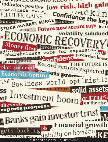 Financial recovery headlines stock vector clipart, Background editable vector design of newspaper headlines about economic recovery by Robert Adrian Hillman