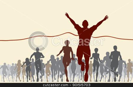 Finishing line stock vector clipart, Editable vector illustration of a man winning a race by Robert Adrian Hillman
