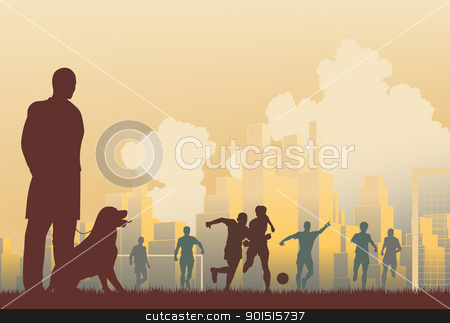 Football spectator stock vector clipart, Editable vector illustration of a man watching footballers by Robert Adrian Hillman