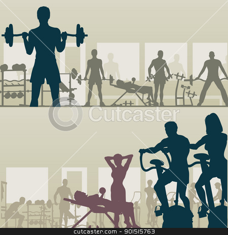 Gymnasium stock vector clipart, Two editable vector silhouettes of people exercising in a gym by Robert Adrian Hillman