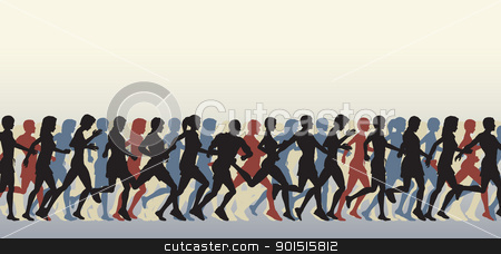 Mass runners stock vector clipart, Editable vector foreground of people running with all figures as separate elements by Robert Adrian Hillman