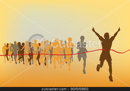 Race winner stock vector clipart, Editable vector illustration of the winner of a race with all figures as separate objects by Robert Adrian Hillman