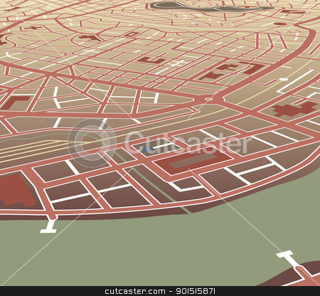 Riverside city stock vector clipart, Editable vector map of a generic city at an angled perspective by Robert Adrian Hillman