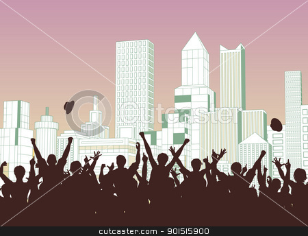 Street celebration stock vector clipart, Editable vector silhouette of a crowd celebrating on a city street by Robert Adrian Hillman