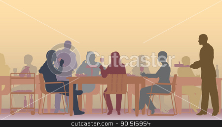 Toned restaurant stock vector clipart, Editable vector scene of people eating in a restaurant by Robert Adrian Hillman
