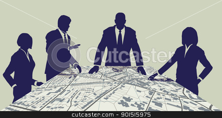 Town planners stock vector clipart, Editable vector map of people meeting around a generic city map by Robert Adrian Hillman