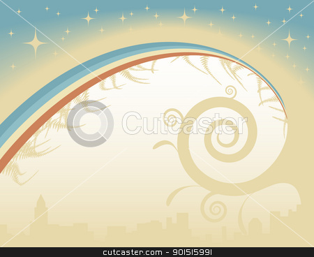 Twinkle stock vector clipart, Abstract editable vector background with stars and rainbow by Robert Adrian Hillman