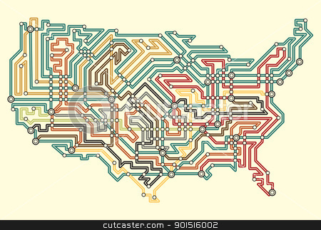 USA underground stock vector clipart, Editable vector illustrated map of the USA in underground map style by Robert Adrian Hillman