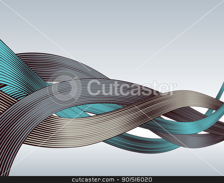 Woodcut ribbons stock vector clipart, Abstract editable vector design of ribbons in woodcut style by Robert Adrian Hillman