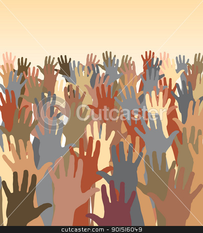 Hand sea stock vector clipart, Editable vector illustration of a crowd of waving hands by Robert Adrian Hillman