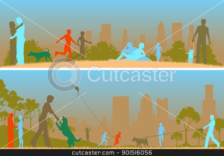 Toned park stock vector clipart, Two editable vector designs of people in a city park by Robert Adrian Hillman