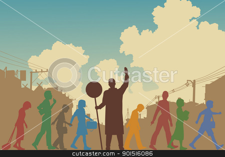 Children crossing stock vector clipart, Editable vector silhouettes of colorful school children crossing a road by Robert Adrian Hillman