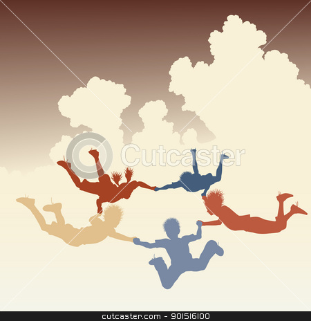 Skydiving friends stock vector clipart, Editable vector colorful illustration of a ring of skydiving children by Robert Adrian Hillman