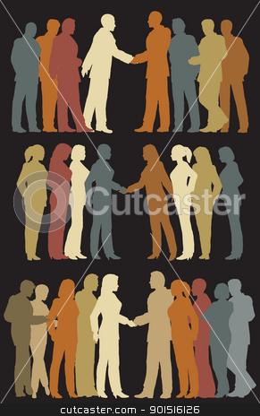 Business groups stock vector clipart, Three sets of colorful illustrated silhouettes of business groups meeting by Robert Adrian Hillman
