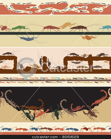 Bug foregrounds stock vector clipart, Set of colorful editable vector foregrounds of ants, cockroaches and scorpions by Robert Adrian Hillman