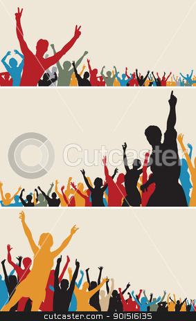 Color crowd silhouettes stock vector clipart, Set of colorful editable vector crowd silhouettes by Robert Adrian Hillman