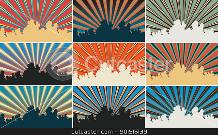Color sky stock vector clipart, Set of color variations of an editable vector illustration of sunbeams and clouds by Robert Adrian Hillman