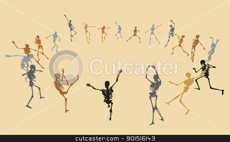 Dancing skeletons stock vector clipart, Illustrated skeleton silhouettes dancing in a ring by Robert Adrian Hillman