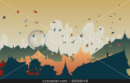 Eastern bird city stock vector clipart, Colorful editable vector illustration of birds over a generic east asian city by Robert Adrian Hillman