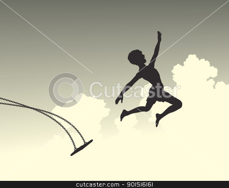 Launch stock vector clipart, Editable vector silhouette of a young boy leaping off a swing by Robert Adrian Hillman