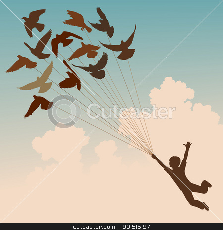 Pigeon boy stock vector clipart, Vector silhouette of a boy carried by flying pigeons by Robert Adrian Hillman