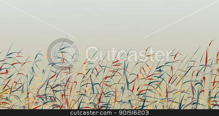 Reed foreground stock vector clipart, Editable vector silhouette of a colorful reed fringe by Robert Adrian Hillman