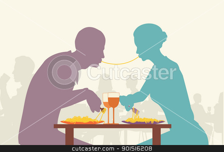 Spaghetti lovers stock vector clipart, Colorful editable vector silhouette of lovers eating spaghetti together in a restaurant by Robert Adrian Hillman