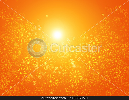 Floral sunshine abstract. stock photo, Vibrant abstract illustration depicting many bright flowers against golden sunlight. by Samantha Craddock