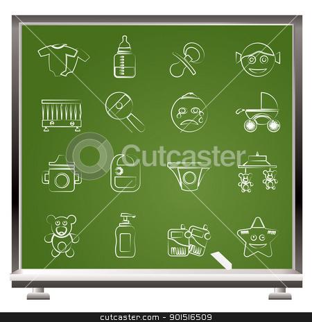 Baby, children and toys icons stock vector clipart, Baby, children and toys icons - vector icon set by Stoyan Haytov