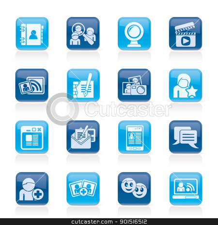social networking and communication icons stock vector clipart, social networking and communication icons - vector icon set by Stoyan Haytov