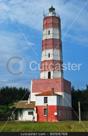 Old lighthouse stock photo, Old Black sea coastal red white lighthouse by Aleksandar Varbenov