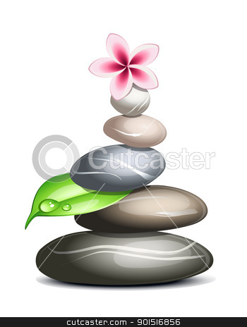 Colored pebbles over white stock vector clipart, Colored pebbles in a pile over white by Laurent Renault