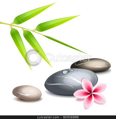 Zen theme over white stock vector clipart, Zen theme with bamboo and colored pebbles over white by Laurent Renault