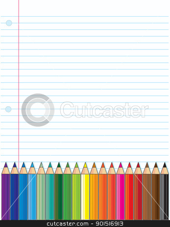 Colored Pencils stock vector clipart, A background of a typical loose leaf, school notebook page, with a bank of colored pencils across the bottom of the page. by Maria Bell
