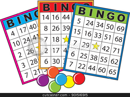 Bingo Cards stock vector clipart, Three colorful bingo cards. by Maria Bell