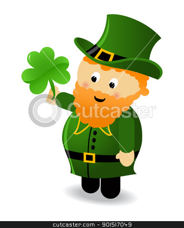 leprechaun stock vector clipart, Funny leprechaun holding a shamrock by wingedcats