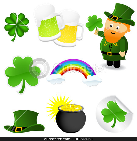 St_Patrick's_set stock vector clipart, St patrick's day icon set by wingedcats