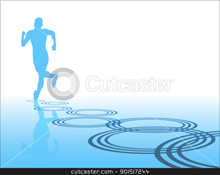 Lone runner stock vector clipart, Editable vector silhouette of a man running away with reflection and ripples by Robert Adrian Hillman