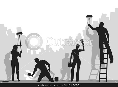 Painters stock vector clipart, Editable vector silhouettes of people painting a blank wall with copy space by Robert Adrian Hillman