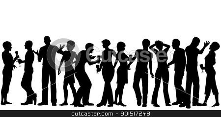 House party stock vector clipart, Editable vector silhouettes of men and women standing at a party with every person as a separate object by Robert Adrian Hillman