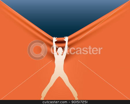 Background pulling stock vector clipart, Editable vector silhouette of a woman pulling the background down by Robert Adrian Hillman