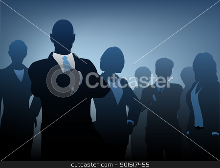 Business people stock vector clipart, Editable vector illustration of silhouettes of a business team by Robert Adrian Hillman