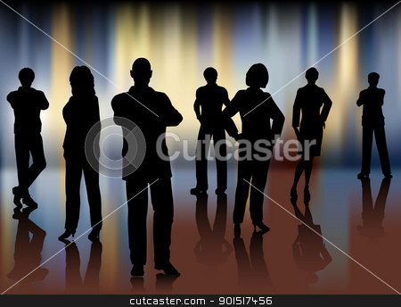Business team stock vector clipart, Editable vector illustration of a business team with background made with a gradient mesh by Robert Adrian Hillman