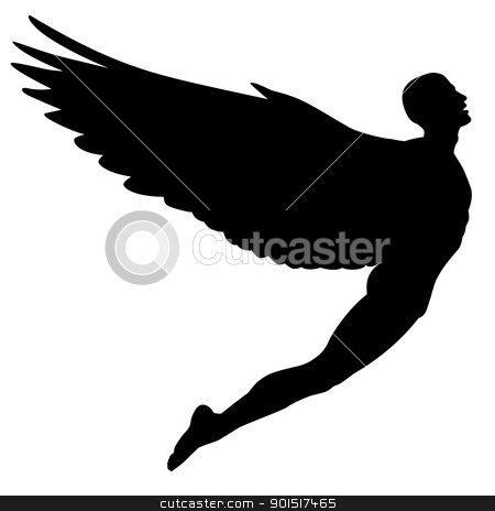 Flying man stock vector clipart, Editable vector silhouette of a man with wings flying by Robert Adrian Hillman