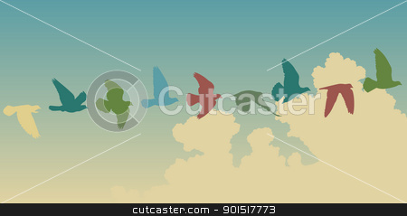 Pigeon flight stock vector clipart, Editable vector silhouettes of a pigeon flying across the sky by Robert Adrian Hillman